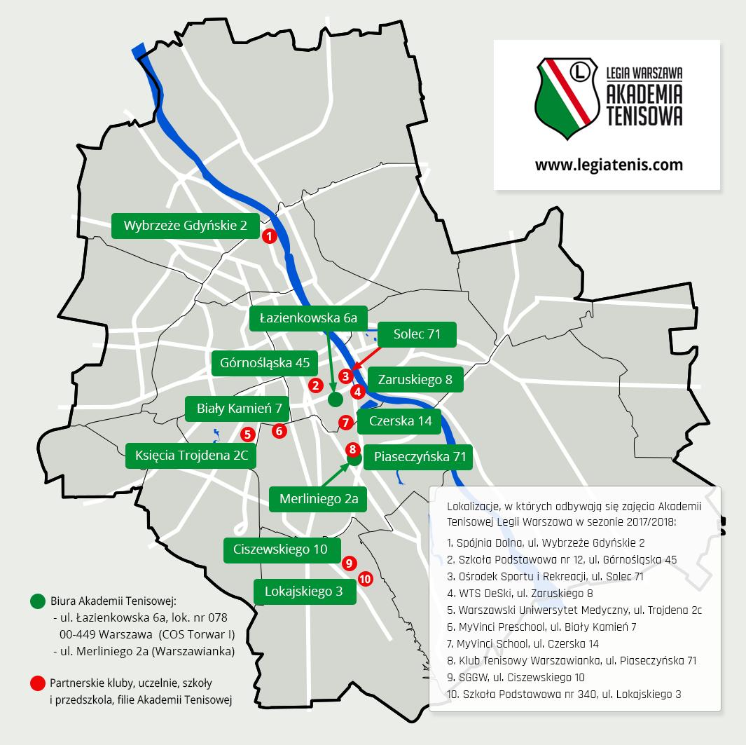 lokalizacje Akademii Tenisowej Legii Warszawa